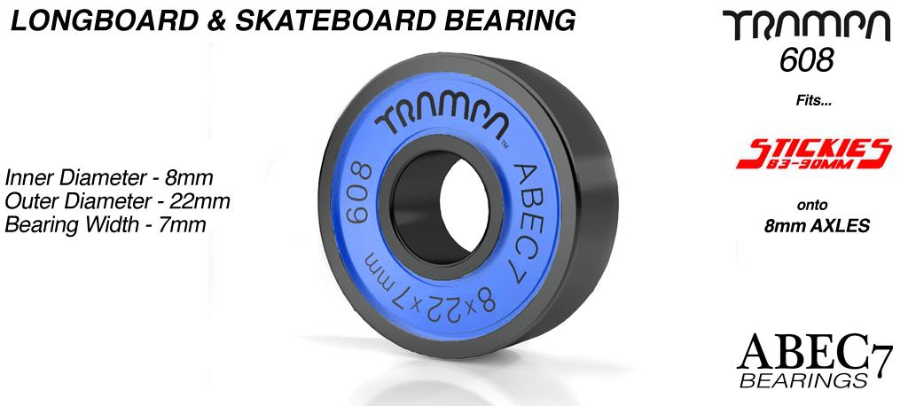 Longboard & Skateboard Bearings (8 x 22 x 7mm) BLUE sidewalls with Black Logo ABEC 7 608