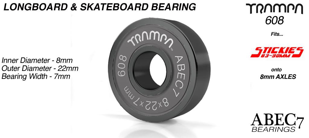 Longboard & Skateboard Bearings (8 x 22 x 7mm) BLACK sidewalls with Black Logo ABEC 7 608