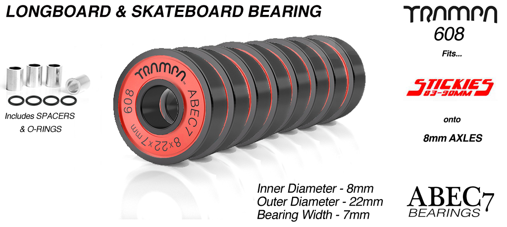 TRAMPA ABEC 7 608 Skate Bearings (8 x 22 x 7mm)  RED sidewalls with Black Logo x 8