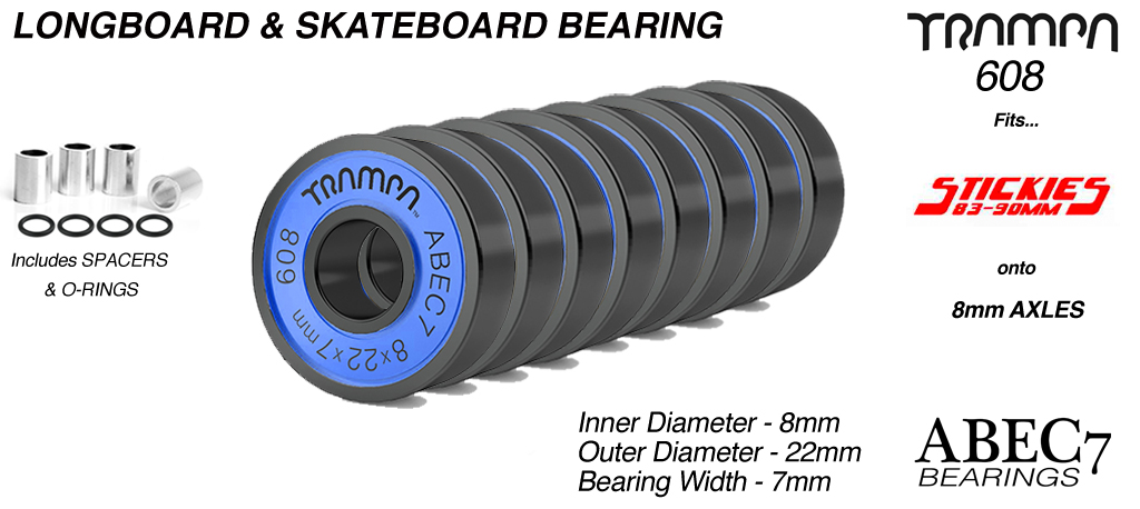 Longboard Bearings 608 ABEC 7 (8 x 22 x 7mm) BLUE sidewalls with Black Logo x 8
