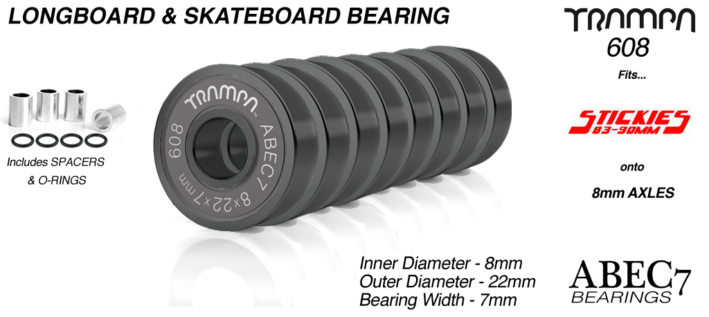 Longboard Bearings 608 ABEC 7 (8 x 22 x 7mm) BLACK sidewalls with Silver Logo x 8