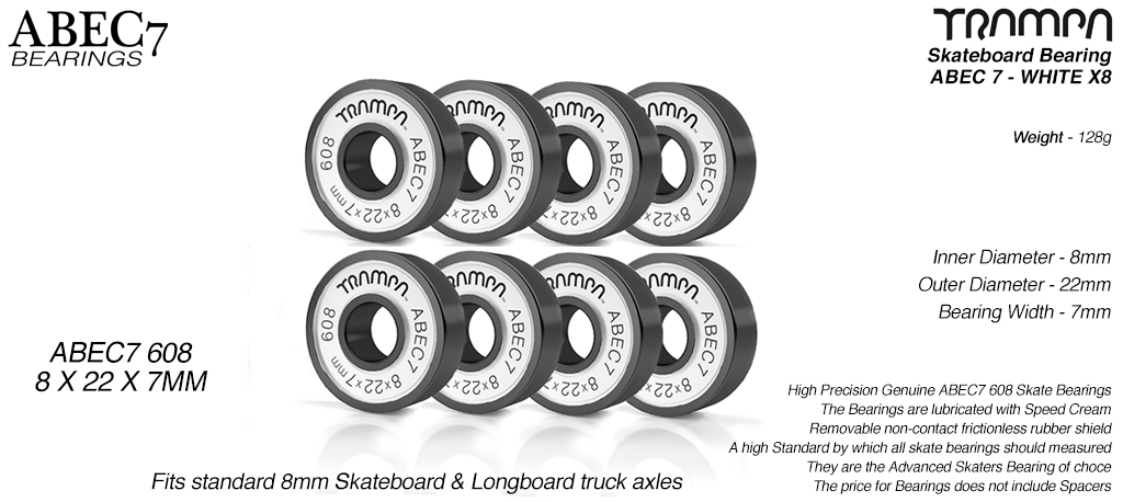 TRAMPA ABEC 7 608 Skate Bearings (8 x 22 x 7mm)  WHITE sidewalls with Black Logo x 8