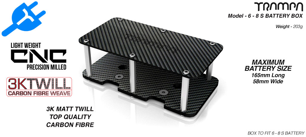 6 - 8s CARBON FIBRE Battery Box 170 x 76 x 3mm thick - Fits 6-8s Batteries to TRAMPA Decks