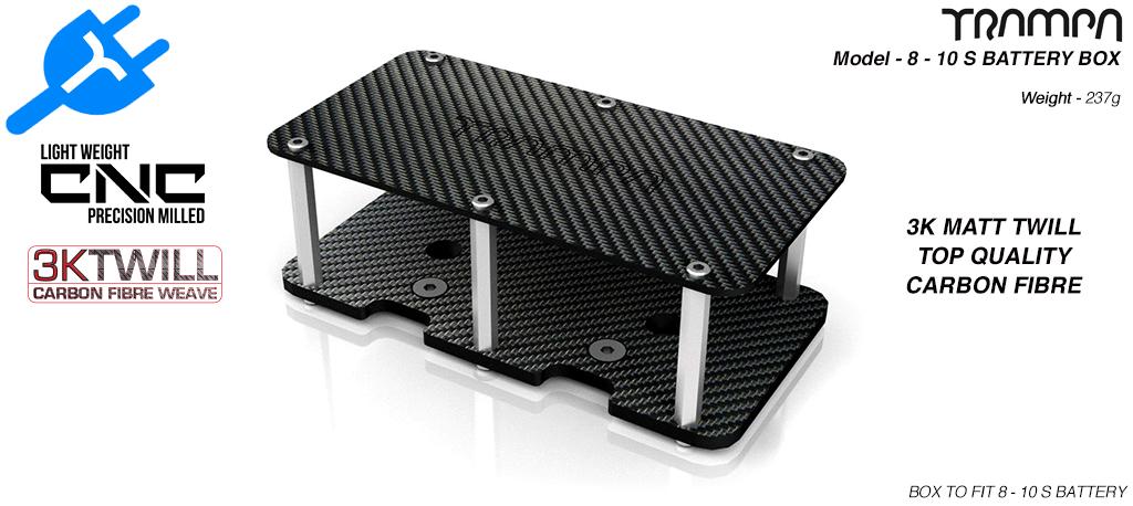 8 - 10s CARBON FIBRE Battery Box 174 x 90.5 x 3mm thick - Fits 8-10s Batteries to TRAMPA Decks