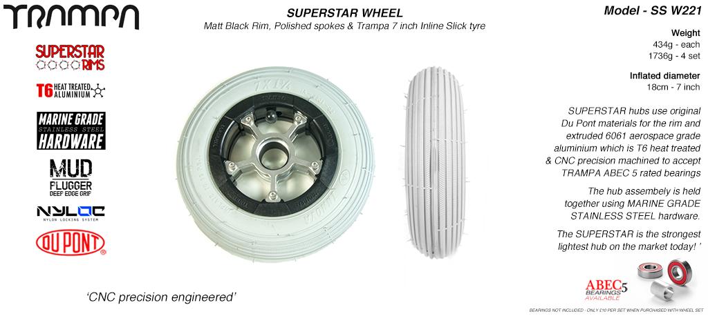 7 Inch Wheel - Matt Black Superstar Rim Silver Anodised Spokes & Grey 7 Inch Inline Tyre