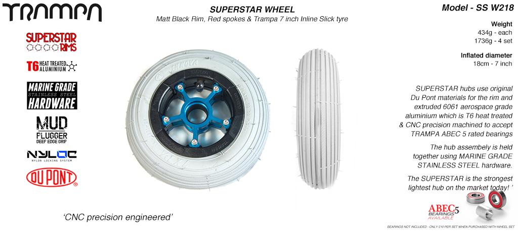 7 Inch Wheel - Matt Black Superstar Rim Blue Anodised Spokes & Grey 7 Inch Inline Tyre