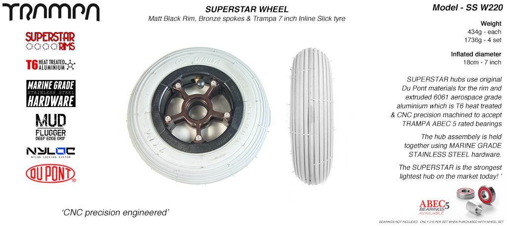 7 Inch Wheel - Matt Black Superstar Rim Bronze Anodised Spokes & Grey 7 Inch Inline Tyre