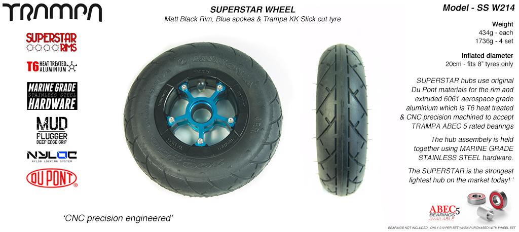 Superstar 8 inch wheels - Matt Black Superstar Rim with Blue Anodised spokes & Black SLICK cut 8 inch Tyre