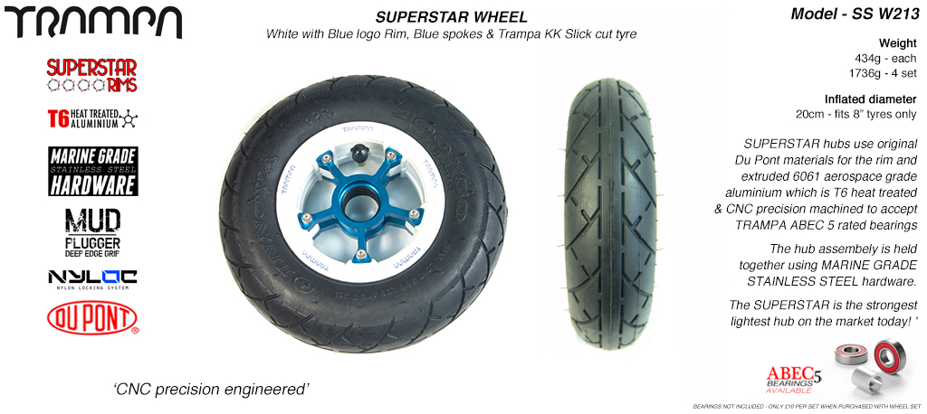 Superstar 8 inch wheels - Gloss White Superstar Rim with Blue Anodised spokes & Black SLICK cut 8 inch Tyre