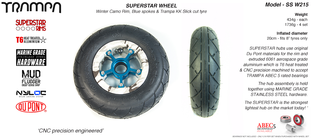 Superstar 8 inch wheels - Winter Camo Superstar Rim with Blue Anodised spokes & Black SLICKCUT 8 inch Tyre