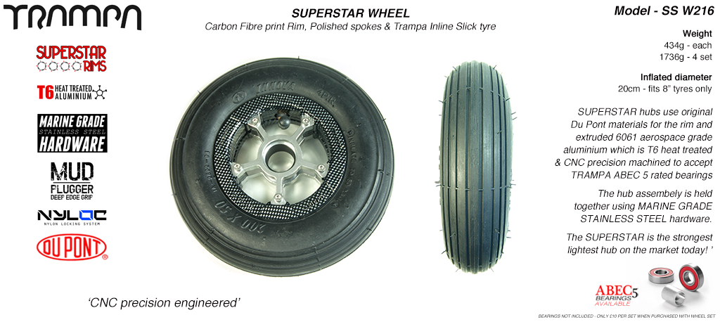 Superstar 8 inch wheels - Carbon Print Superstar Rim with Silver Anodised spokes & Black Slick Cut 8 inch Tyre