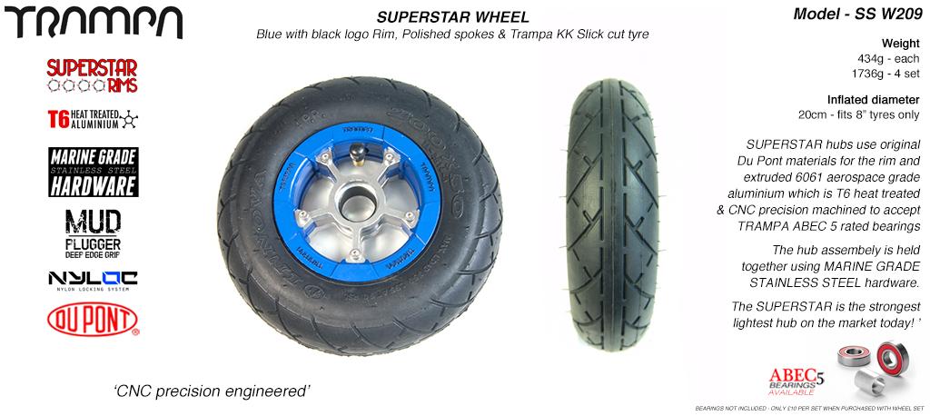 Superstar 8 inch wheels - Blue Gloss Black Logo Superstar Rim with Silver Anodised spokes & Black Slick Cut 8 inch Tyre