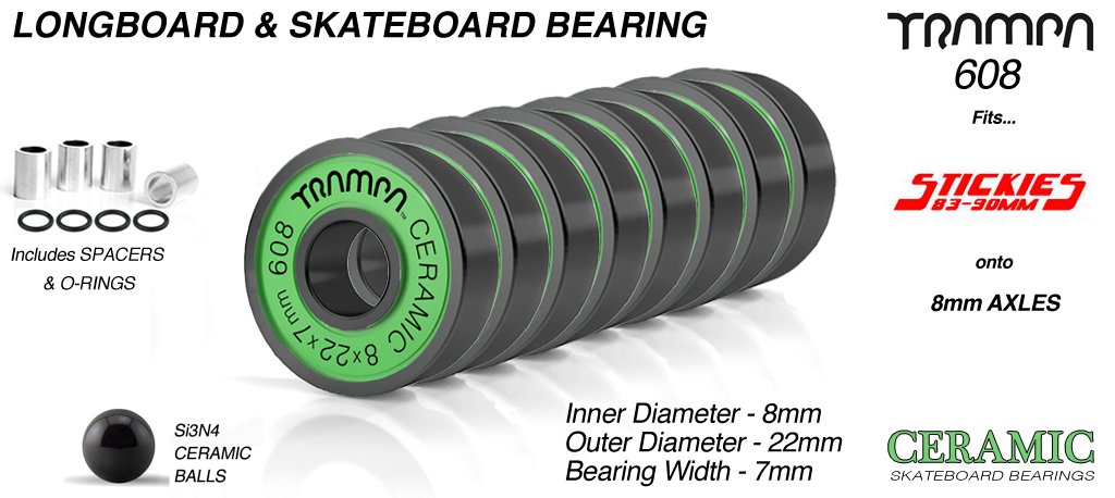TRAMPA CERAMICS 608 Professional Skate Bearings (8 x 22 x 7mm) GREEN shields with BLACK Logo x 8