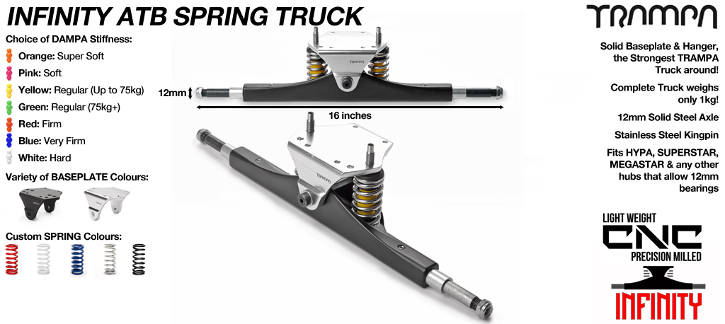 CUSTOM INFINITY Truck - 12mm Hollow Axles with Infinity Baseplate & steel kingpin