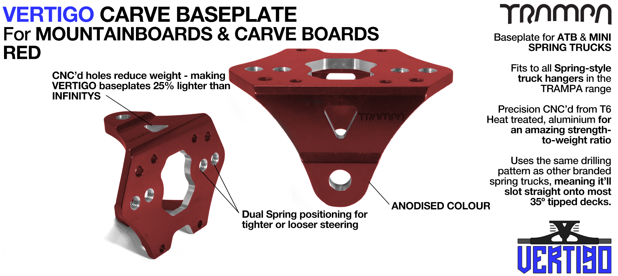 VERTIGO CARVE Baseplate RED - T6 Aluminum Powder coated & CNC lightened - Black logo
