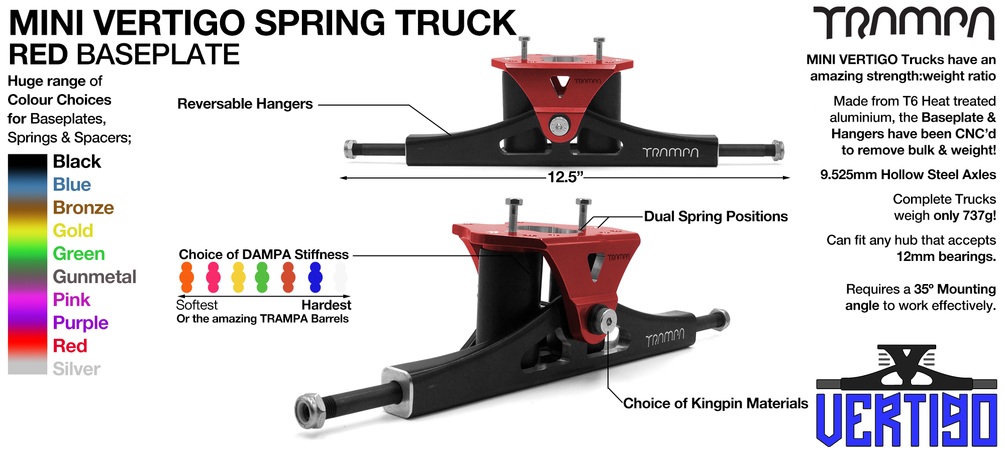 Mini VERTIGO TRAMPA TRUCKS - CNC FORGED Channel Hanger with 9.525mm HOLLOW Steel Axle CNC Baseplate Stainless Steel Kingpin - RED
