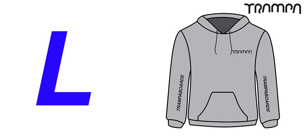 GREY GILDAN Heavy Weight Hoodie with Black TRAMPA Logos - Large
