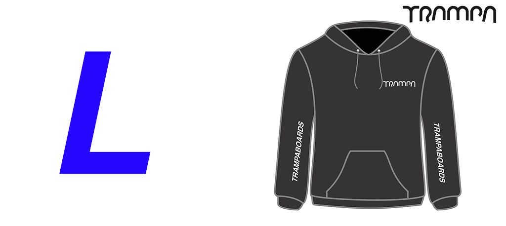 BLACK Starworld Ultimate Hooded Sweat with SILVER TRAMPA Logos - Large