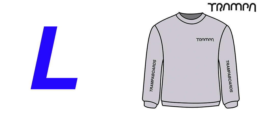 GREY GILDAN HEAVYWEIGHT Sweatshirt with Black TRAMPA Logo's - Large