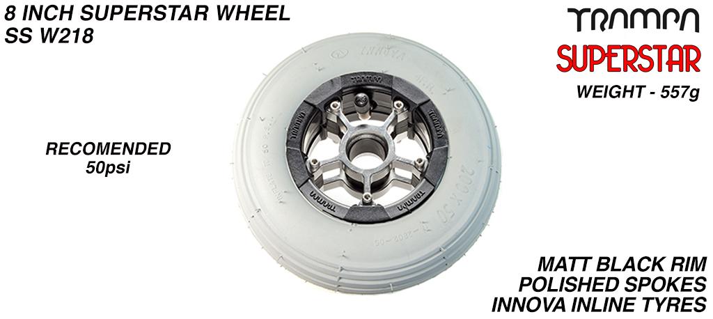 Superstar 8 Inch Wheel - Matt Black Superstar Rim Red Anodised Spokes & Black 8 Inch Inline Tyre