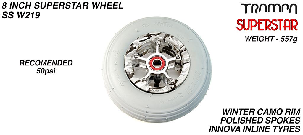 Superstar 8 Inch Wheel - Winter Camo Superstar Rim Silver Anodised Spokes & Grey 8 Inch Inline Tyre