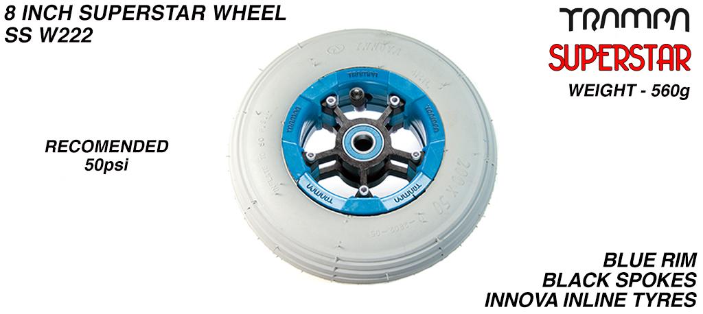 Superstar 8 Inch Wheel - Blue Superstar Rim Black Anodised Spokes & Grey 8 Inch Inline Tyre (COPY)