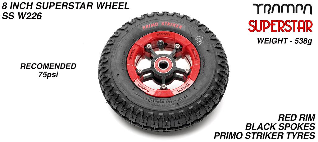 Superstar 8 Inch Wheel - Red Superstar Rim Black Anodised Spokes & Primo Striker 8 Inch Tyre