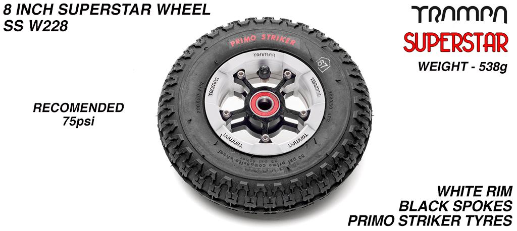 Superstar 8 Inch Wheel - White Superstar Rim Black Anodised Spokes & Primo Striker 8 Inch Tyre