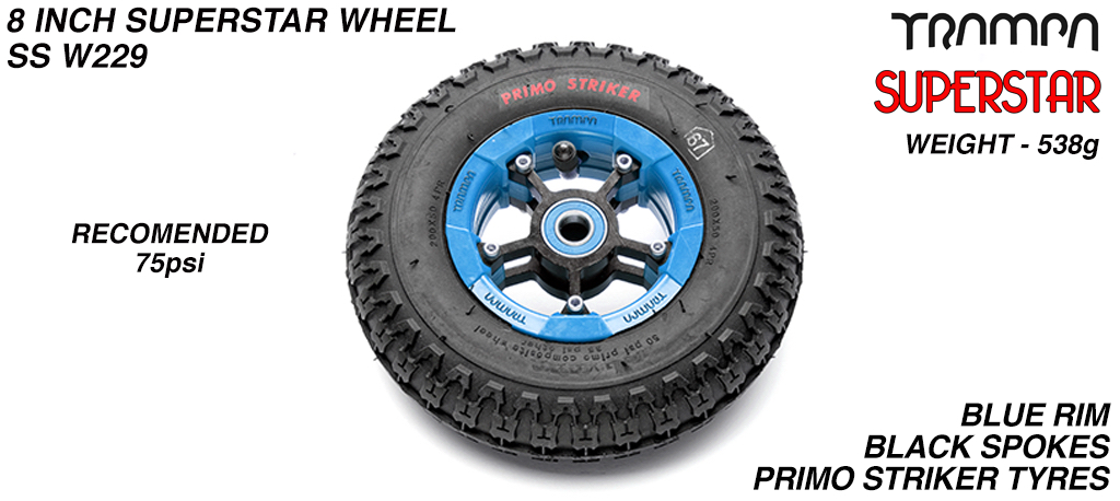 Superstar 8 Inch Wheel - Blue Superstar Rim Black Anodised Spokes & Primo Striker 8 Inch Tyre