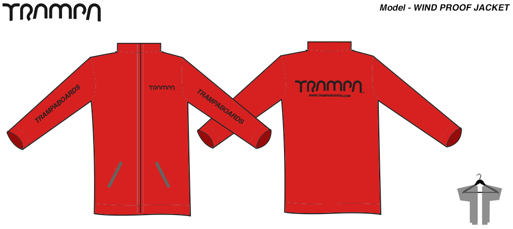 Windproof Rain protector Jacket - RED with Black TRAMPA logo's