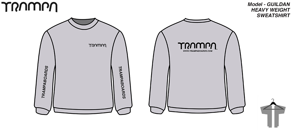 Grey with Black TRAMPA Logos Round neck HEAVY WEIGHT Sweatshirt by GILDAN