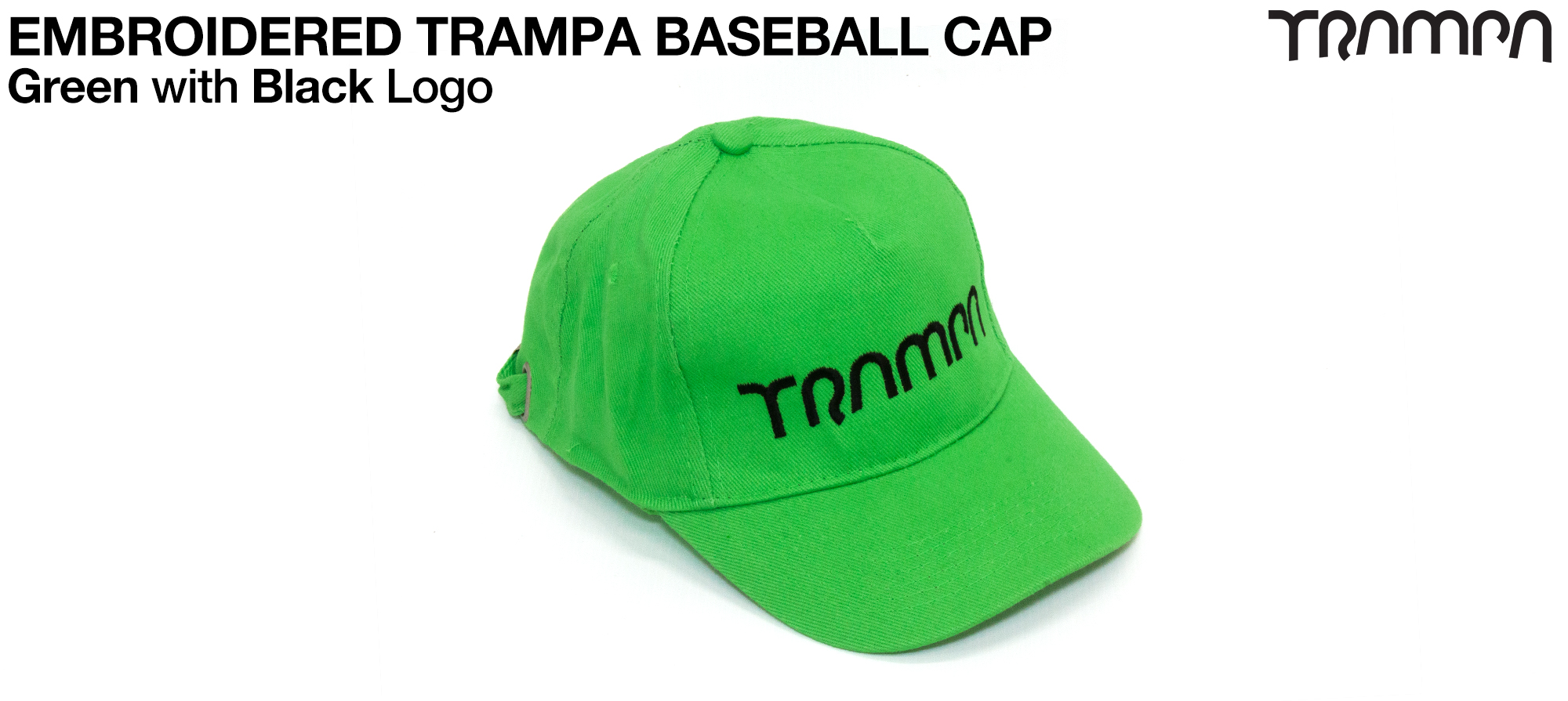 GREEN Baseball Cap with BLACK logo embroidered