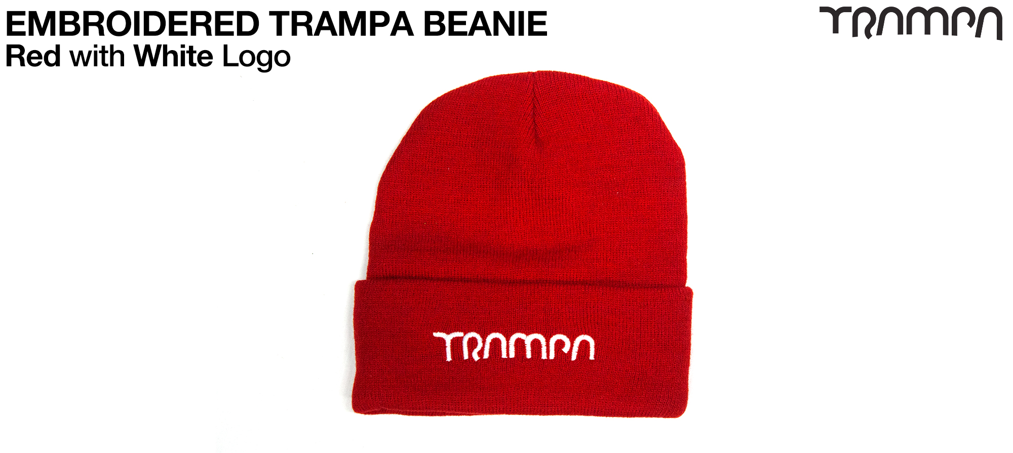 RED Woolie hat with White TRAMPA logo