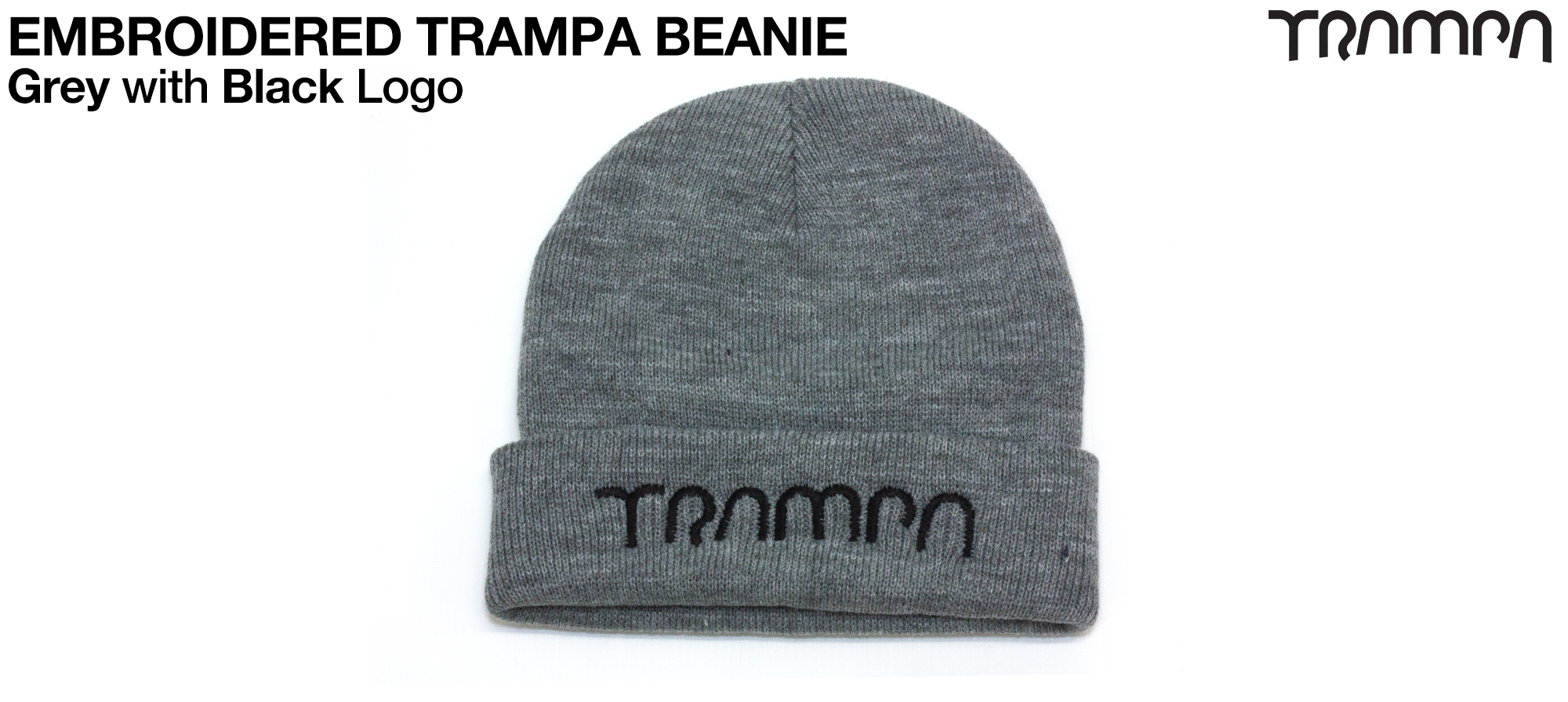Grey Woolie hat with Black TRAMPA logo