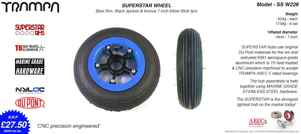 7 Inch Wheel - Blue Gloss Superstar Rim Black Anodised Spokes & Black 7 Inch Inline Tyre