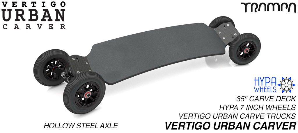 VERTIGO URBAN Carveboard CNC LIGHT with 9.525mm HOLLOW Steel axles on 6 or 7 Inch pneumatic HYPA Wheels - BLACK