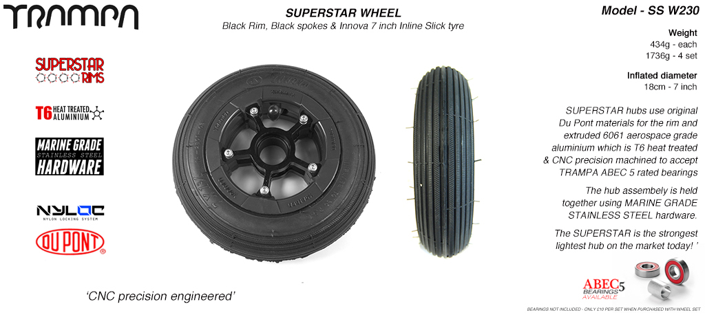 7 Inch Wheel - Black Gloss Superstar Rim Black Anodised Spokes & Black 7 Inch Inline Tyre