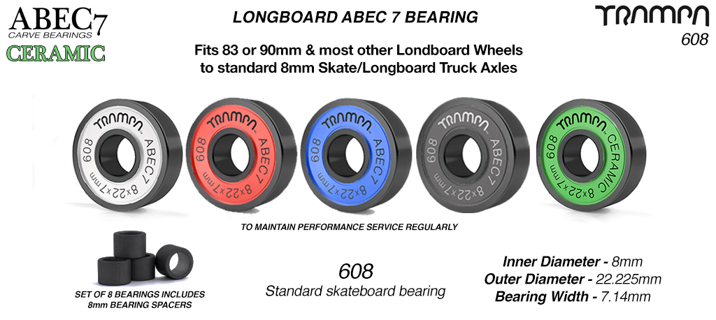 R608 8mm Axle Longboard or Skateboard ABEC 7 Bearings with Spacers 8x 8x22x7mm 608