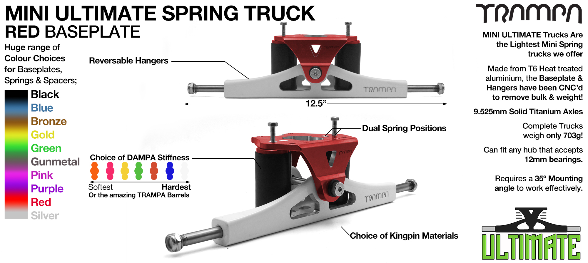 Mini ULTIMATE TRAMPA TRUCKS - CNC FORGED Channel Hanger with 9.525mm TITANIUM Axle CNC Baseplate TITANIUM Kingpin - RED