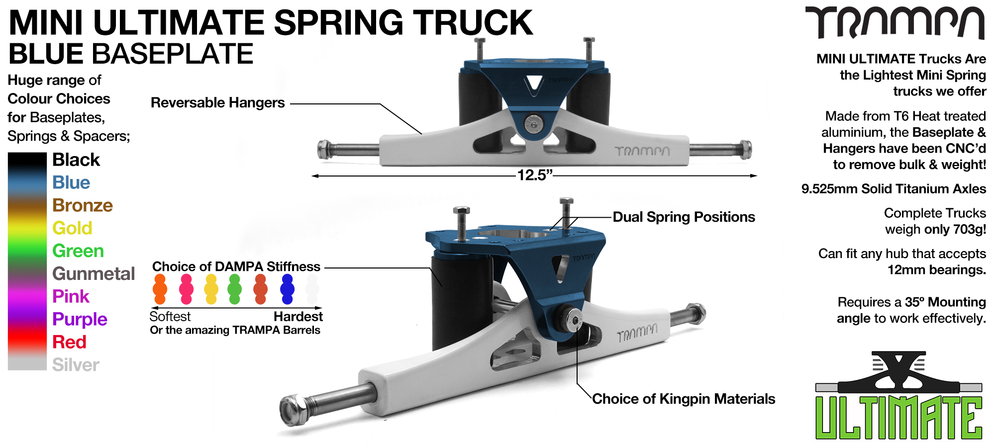 Mini ULTIMATE TRAMPA TRUCKS - CNC FORGED Channel Hanger with 9.525mm TITANIUM Axle CNC Baseplate TITANIUM Kingpin - BLUE