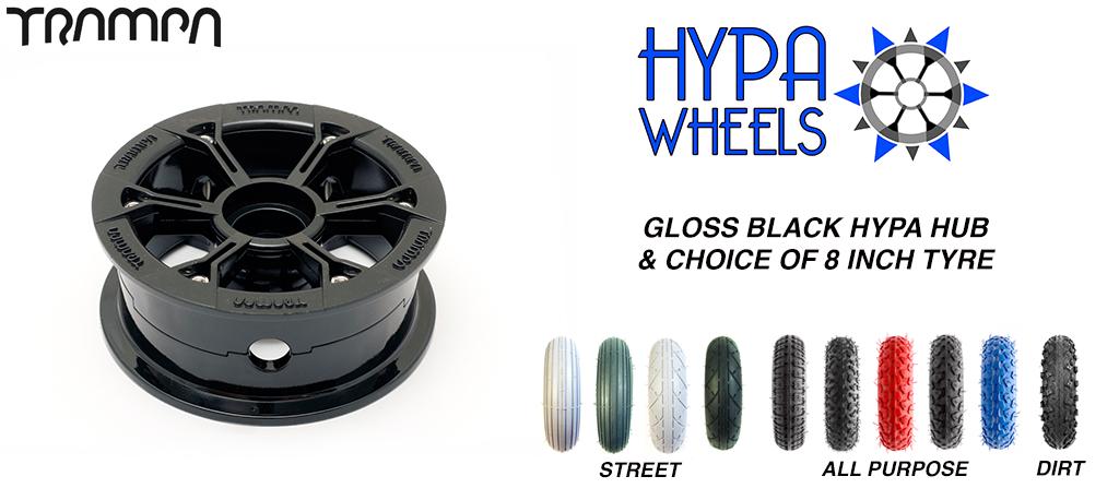 Gloss Black Hypa hub & Custom Tyre for Electric Decks