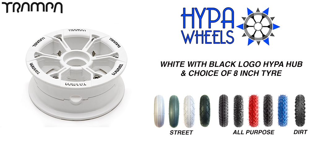 Gloss White with Black Logos Hypa hub & Custom 8 Inch Tyre Tyre