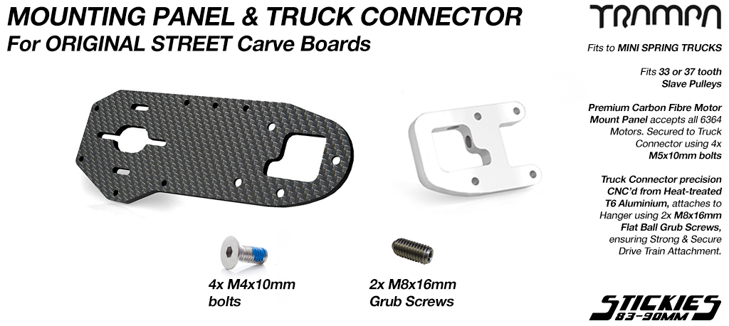 Original STREET Carver Carbon Fibre Motor Mount PANEL with T6 Motor Mount CLAMP & GRUB Screws - SINGLE