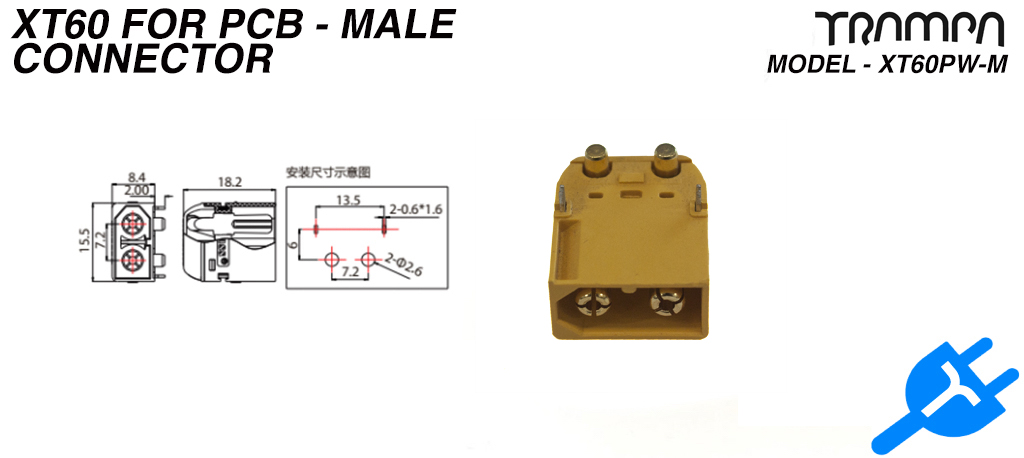 XT60PW-M connector for PCB - Male