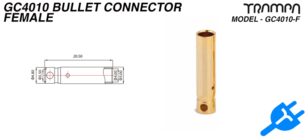 4mm FEMALE Bullet connector - Plugs into MOTOR Cables