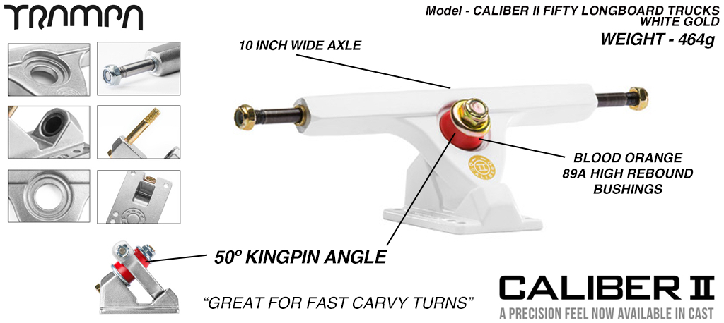 CALIBER II Longboard Trucks - 10 Inch Wide with a 50º Baseplate mount for fast Carvy turns - WHITE & GOLD
