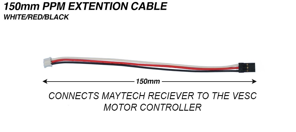 Maytech to VESC 150mm PPM Extension Cable - Silicon Cable 24 AWG Black/Red/White