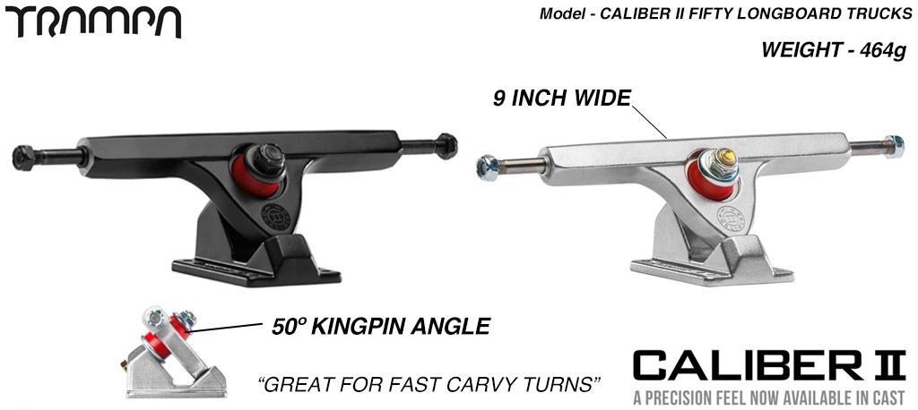 Caliber II 50º Baseplate 9 Inch wide shortboard Truck - For fast Carvy turns