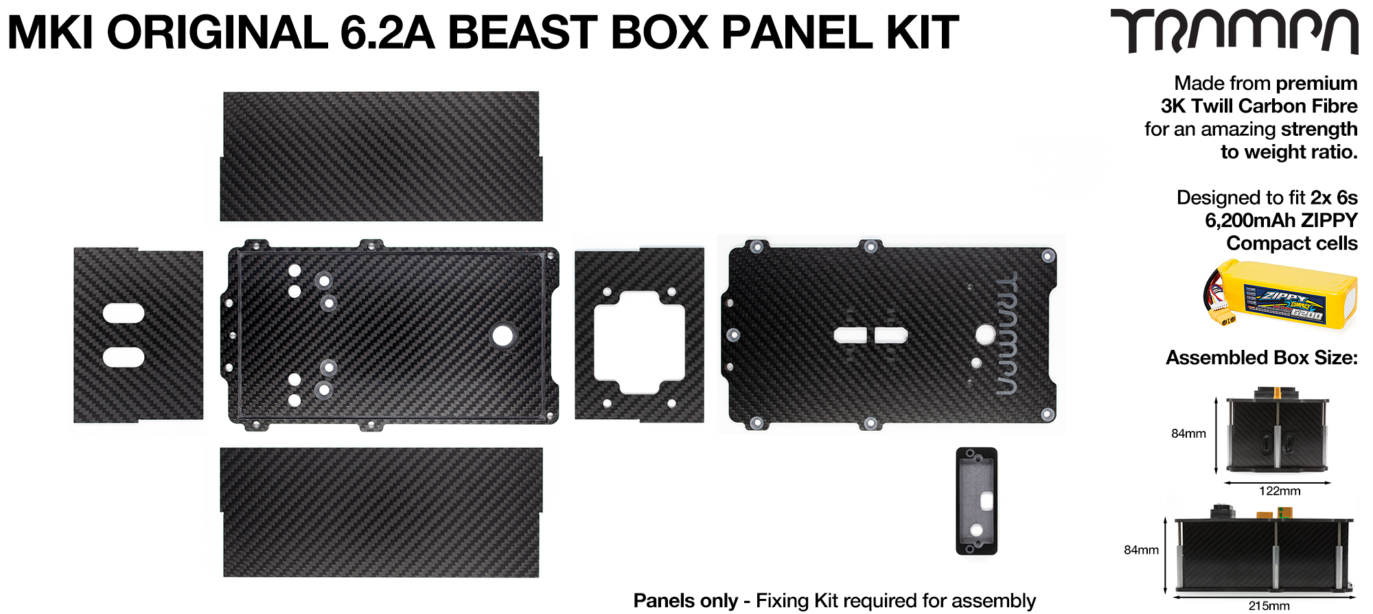 Original BEAST Box Carbon Fibre Panel kit with integrated LED & NRF Housing - Fits 2x 6200 Zippy compact