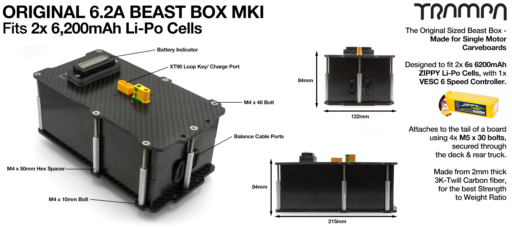 Original MkI 6.2Ah BEAST Box fits 2x Zippy Compact 6200 mAh cells with Internal VESC Housing - AWESOME